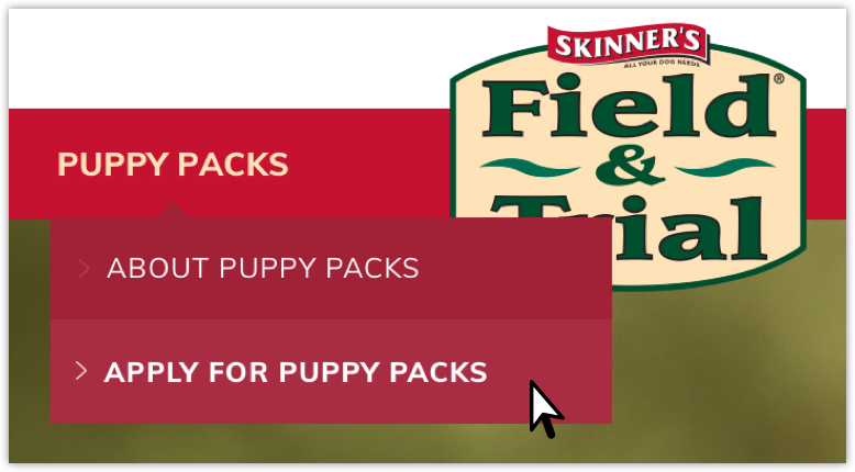 Image depicting the puppy packs application link in the header